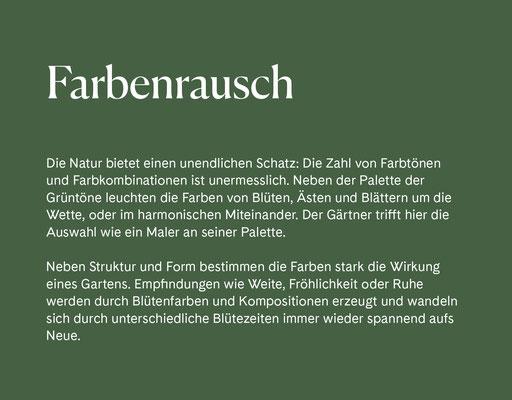 Wienss Innenausbau GmbH - Innenausbau, Objektbau, Museumsbau - hier: Gartenmuseum Lennestadt - www.wienss-innenausbau.de - Gartenalphabet F wie Farbenrausch