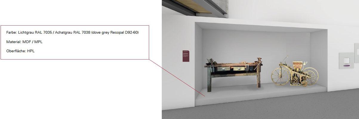 Wienss Innenausbau GmbH - Forscherfabrik Schorndorf - Innenausbau, Objektbau, Museumsbau Foyer - Motorrad Daimler - Schwerlastpodest für Motorrad-Exponat