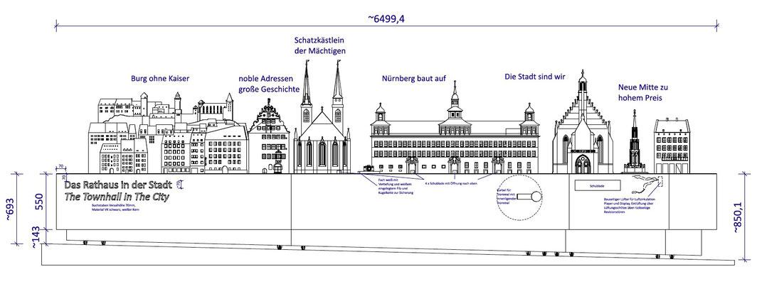 Wienss Innenausbau GmbH - Innenausbau, Objektbau, Podestlandschaft Informationsystem Stadt Nürnberg - Plan Detail