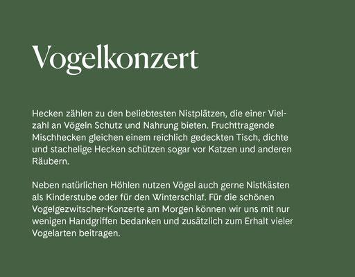 Wienss Innenausbau GmbH - Innenausbau, Objektbau, Museumsbau - hier: Gartenmuseum Lennestadt - www.wienss-innenausbau.de - Gartenalphabet V wie Vogelkonzert