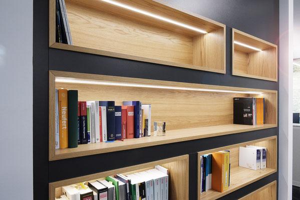 Wienss Innenausbau GmbH - Carl Zeiss AG - Innenausbau Büro in Oberkochen - www.wienss-innenausbau.de - Bibliothek & Schränke, Detail
