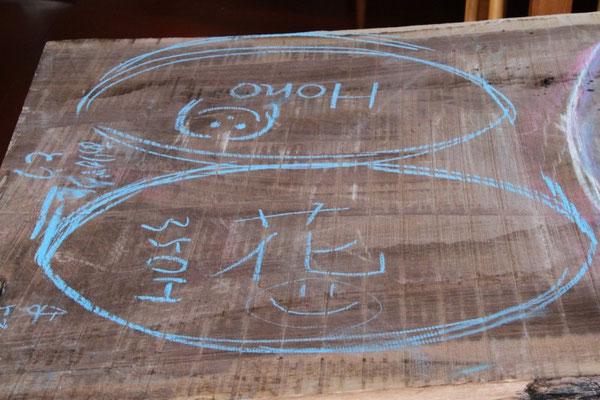 テーブルとイスを同じ材料で作る