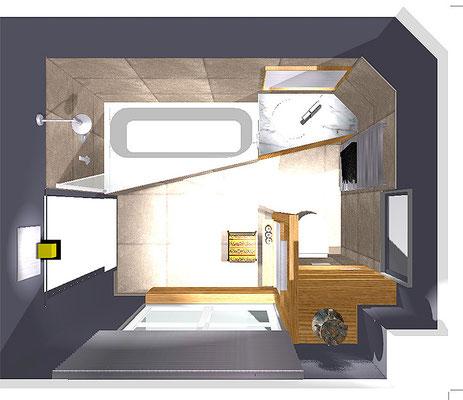 salle de bain Madame V. - 3D projet