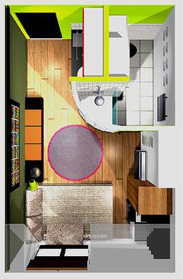 Chambre de bonne Paris IX - 3D projet