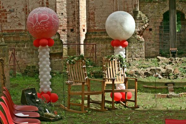 Mr. Balloni.ch, Hochzeit, Liebe,  Explosionsballon, Expolderballon, Herzen