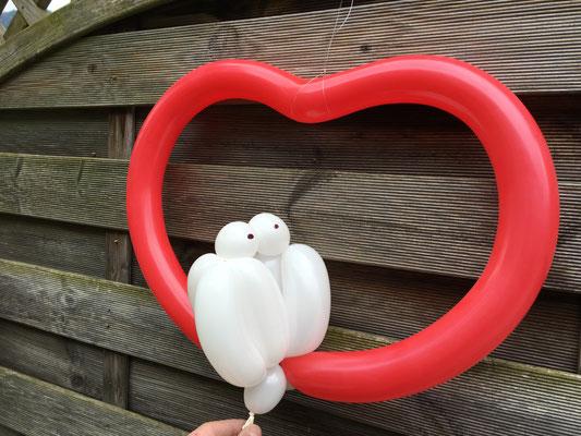 Ballon Herz & Tauben