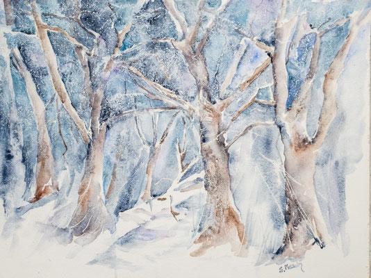 Aquarell, Mischtechnik, Frost 2, Winterlandschaft