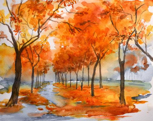 Herbstlandschaft, Aquarell