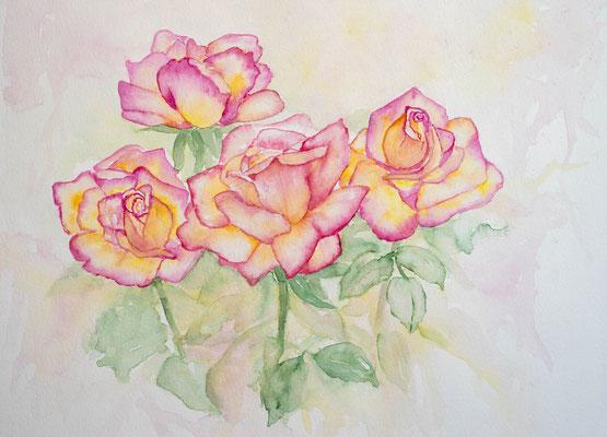 Rosen Aquarellbild