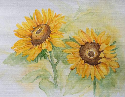 Sonnenblumen in Aquarell