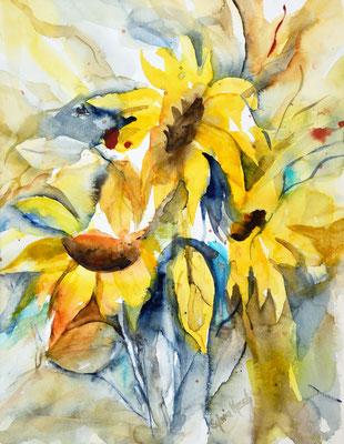 Sonnenblumen abstrahirend, Aquarell (Verkauft)