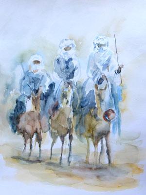 Die Reiter, Aquarell