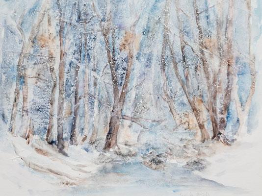 Aquarell, Mischtechnik, Frost, Winterlandschaft