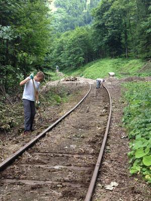 Säuberung der Schieneprofils, km 6,2