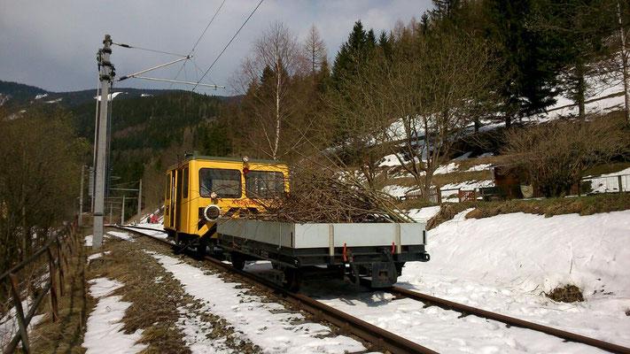 X626.126 mit Strauchschnitt bei noch leicht winterlichen Verhältnissen in Vordernberg Markt