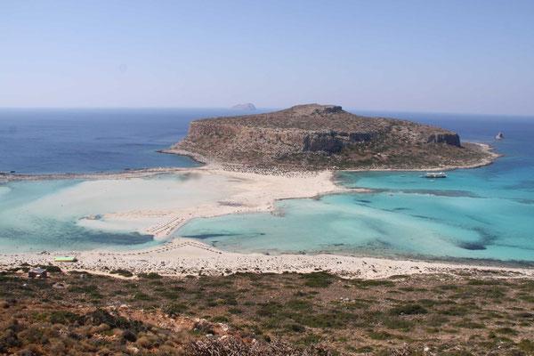 Strand von Balos mit Blick nach Τηγάνι (=Bratpfanne)