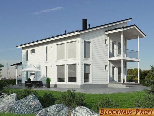 Architektenhaus mit Pultdach -  Massivholzhaus  mit Wohn-/Nutzfläche  189 m²