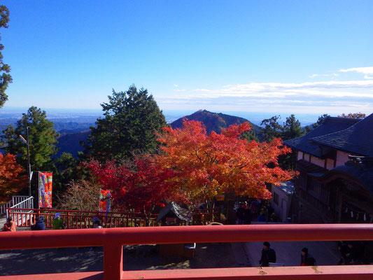 神社からは、日の出山が望めます。