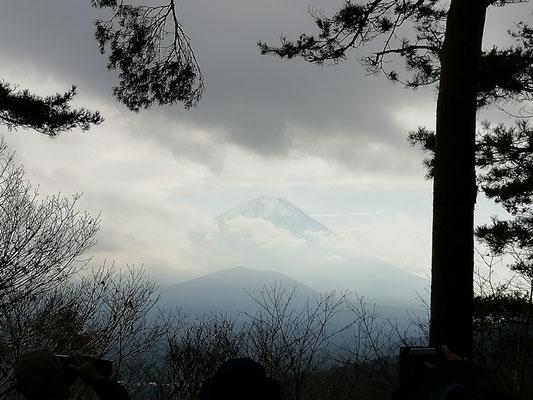 スタートから30分あまりの所から富士山が見えるポイントに到着。