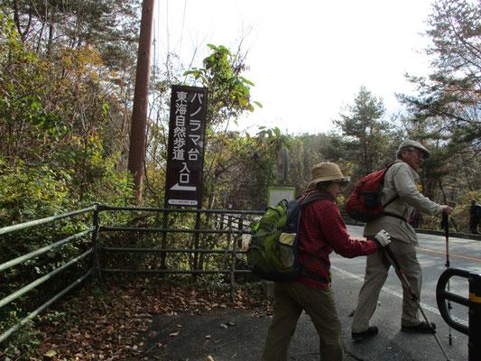 本栖湖側のパノラマ台入口に到着。山道はここで終了です。