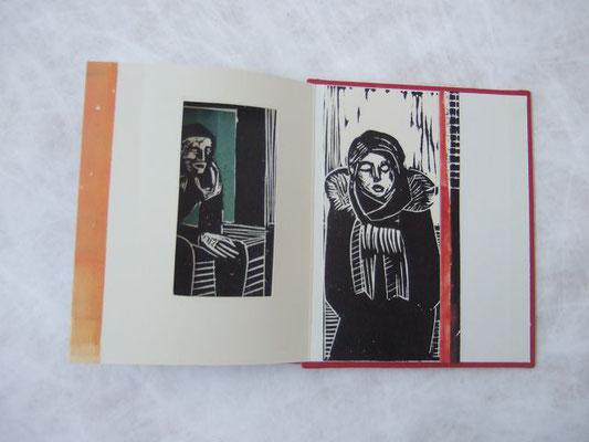 Transit/ orange, Linolschnitt, Collage, Monotypie