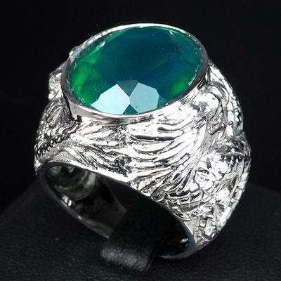 серебряное кольцо с изумрудом ДРАКОН