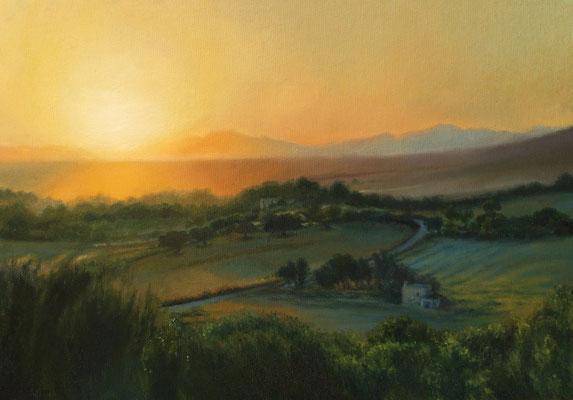 Sunset  25x35 cm, Öl auf Leinwand, 2017