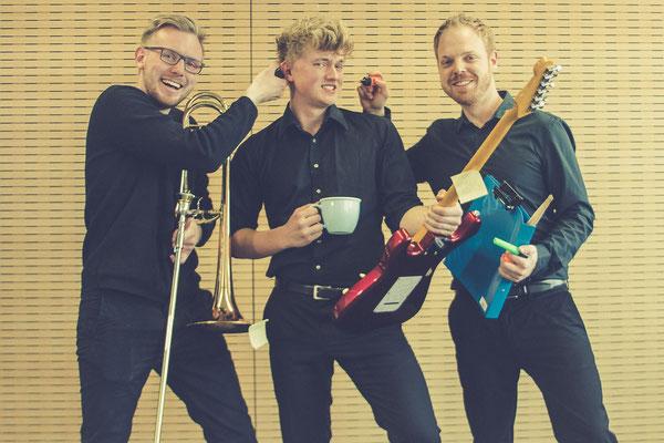 v.l.n.r.: Marius Schäfer (Posaune), Malte Napp (Gitarre), Tim Ester (Drums)