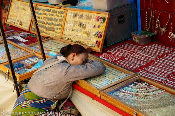 Tibetian woman sleeping