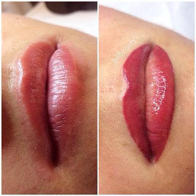 Mikropigmentation Lippe; Kontur mit Schattierung