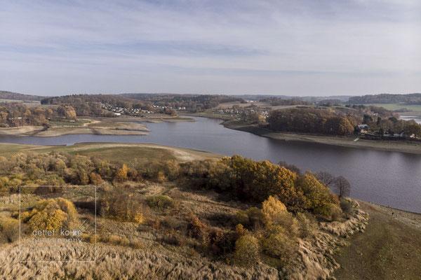 im November 2018 extremes Niedrigwasser in der Talsperre Pöhl