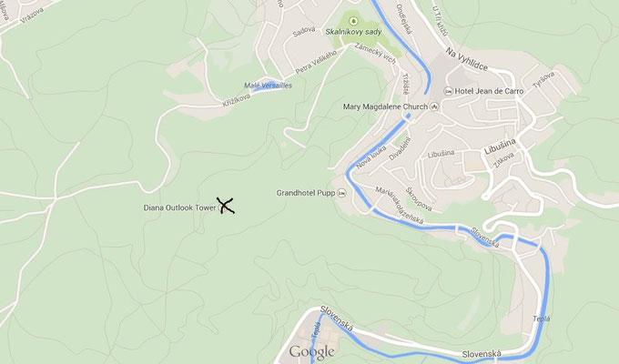 """Карта с тропинками к западу от Теплы и смотровая """"Диана"""""""