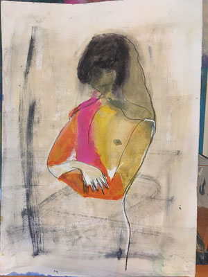 Skizze Frei nach Tina Berning - Aus dem Kunstunterricht Acryl auf Papier