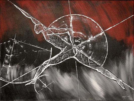 Tri Angular  (Format 80x60 ) auf Leinen (Mensch sein, Darstellung im Minimalismus)