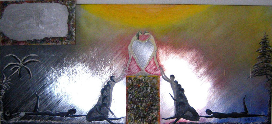 Verlangen nach Liebe (Format 100x45 ) auf Metallfolie