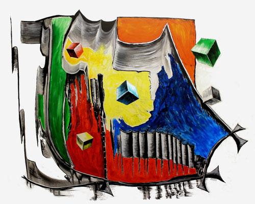 Trraforming ( Format 150x120 )Acryl auf Leinen. Das Streben des Menschen, alles zu seinem Gunsten und zum Nachteil anderer Individuen zu formen.