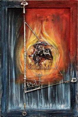 Verbrannte Erde ( Format 60x40 ) auf Leinen und Metalle (Selbstsucht, Habsucht und das ungewollte Ziel)