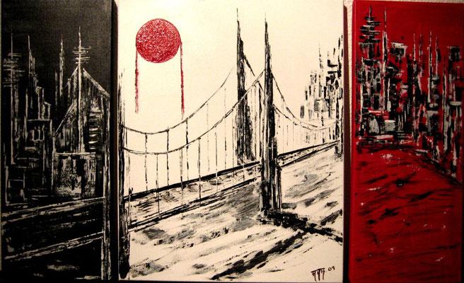 Eine Brücke verbindet bei Nacht Tag und Dämmerung (Format 80x50 Triptychon) auf Leinen