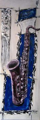 Saxophonie ( Format 120x40 ) auf Leinen (Formgebung. Wer definiert sie?)