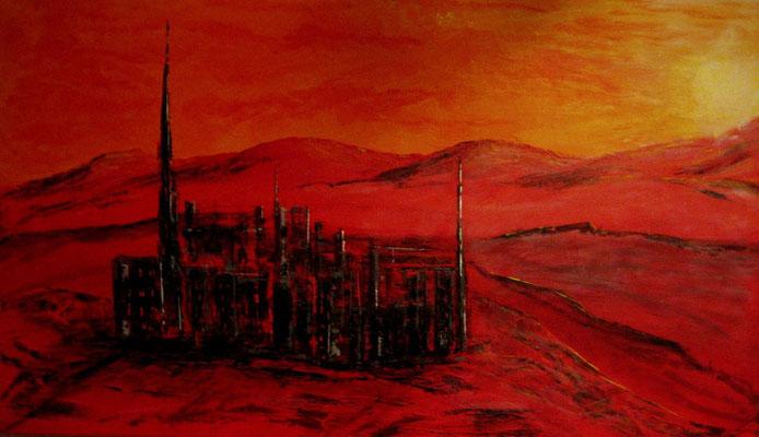 Die einsame Stadt (Format 70x40 ) auf Leinen