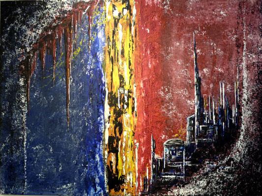 Die Stadt und die Höhle ( Format 80x60 ) auf Leinen
