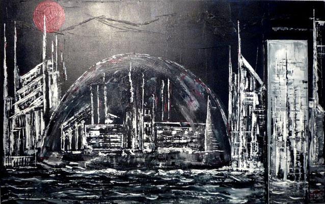 Die geschützte Stadt (Format 80x50 ) auf Leinen
