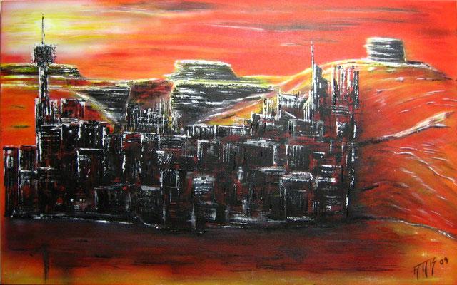 Die verborgene Stadt (Format 80x50 ) auf Leinen