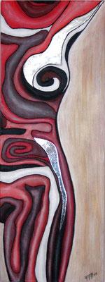Erolinien in Rot (Format 80x30 ) auf Leinen