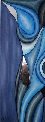 Erolinien in Blau (Format 80x30 ) auf Leinen
