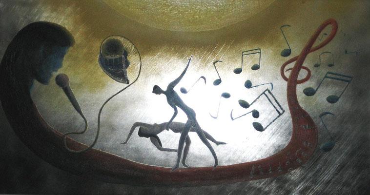 Musik..Tanz..und Gesang (Format 90x50 ) auf Metallfolie