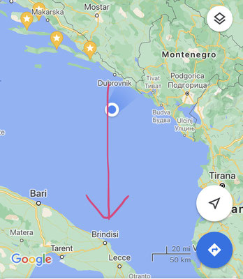 en route south Dubrovnik -> Brindisi