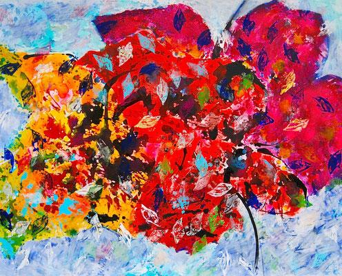Schmetterlinge, Mischtechnik auf Leinwand, 80x100 cm