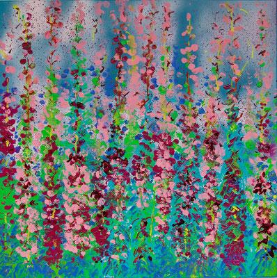 Weidenröschen, Acryl auf Leinwand, 70x70cm (2020)