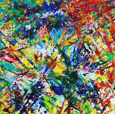 Explosion, 80x80 cm, Acryl auf Leinwand